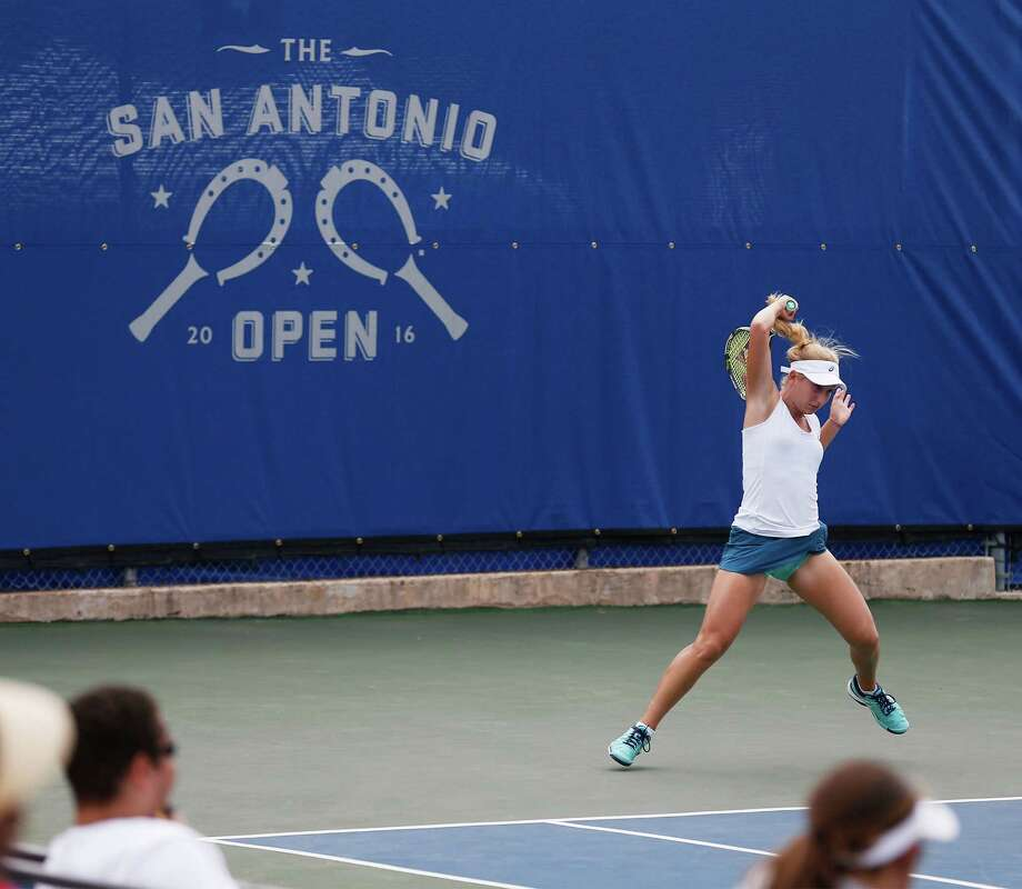 No. 1 seeded Daria Gavrilova of Australia returns a shot against Maria Sakkara of Greece during their second round match at 2016 San Antonio Open tennis tournament at McFarlin Tennis Center on Wednesday, Mar. 16, 2016. Gavrilova won 4-6, 7-6, 6-3. (Kin Man Hui/San Antonio Express-News) Photo: Kin Man Hui, Staff / San Antonio Express-News / ©2016 San Antonio Express-News