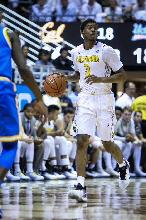 California Golden Bears Tyrone Wallace (3) drives the ball down the court in a game against UCLA Bruins at Haas Pavilion, in Berkeley, California on Thursday, February 25, 2016. Photo: Gabrielle Lurie