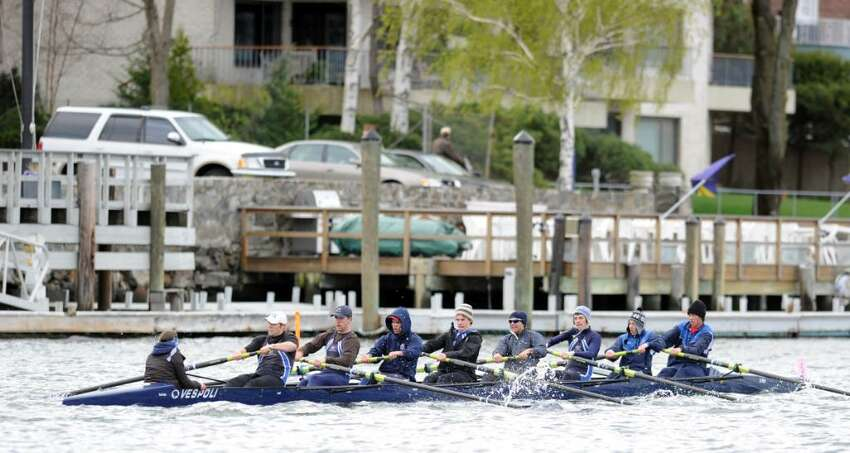 The Greenwich Club crew 8 person shell during their first race of the morning, which they won, beating the 8 person shell from Fairfield Prep, April 10, 2010, Greenwich Harbor, during the NYPPEX Greenwich Invitational Sprints.