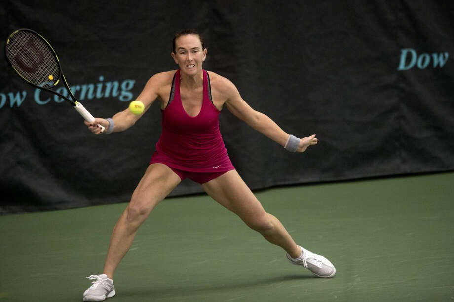 The Dow Corning Tennis Classic number one singles seed, Madison Brengle, shown in a match earlier this week, lost in a three set match today against Naomi Broady. Photo: Brittney Lohmiller | Midland Daily News