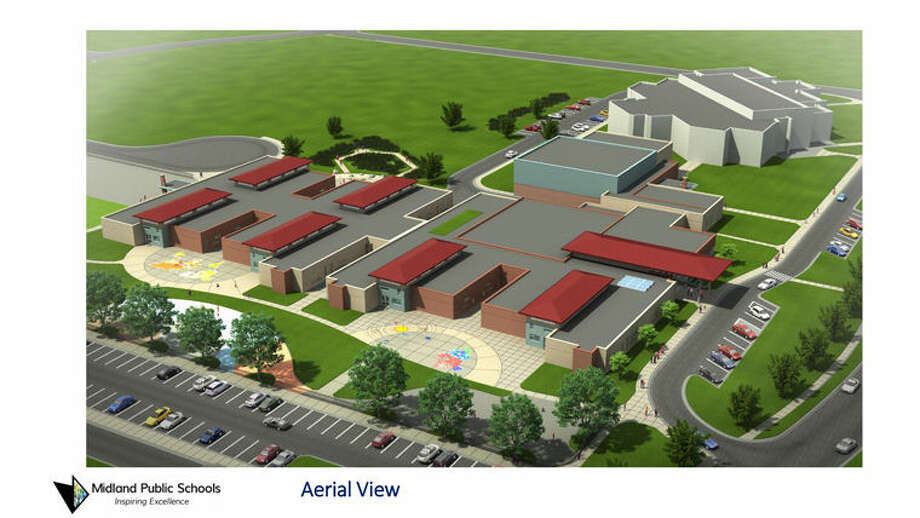 """This conceptual drawing by French Associates shows the new STEM elementary school planned at the former Central Middle School site. The picture shows the building from the corner of Rodd and Collins streets, with the auditorium at top right. The large red-roofed area is the main entrance, and the six smaller red roofs are """"STEM studios/maker spaces."""" The board of education on Monday voted to name the school """"Central Park Elementary School."""""""