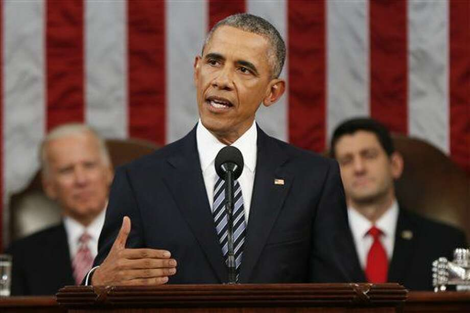 President Barack Obama delivers his State of the Union address before a joint session of Congress on Capitol Hill in Washington, Tuesday, Jan. 12, 2016. (AP Photo/Evan Vucci, Pool) Photo: Evan Vucci