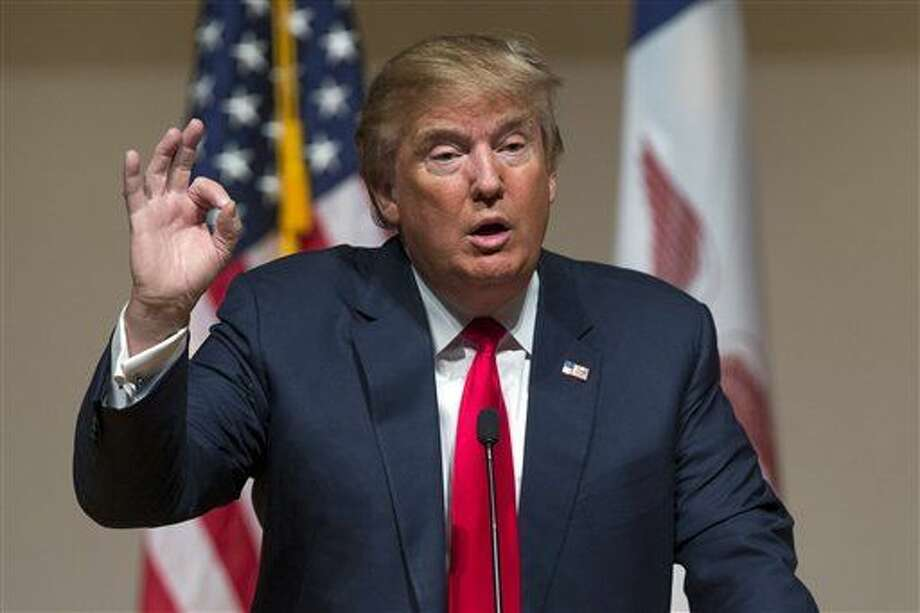 Republican presidential candidate Donald Trump speaks during a campaign rally at Dordt College, on Saturday, Jan. 23, 2016, in Sioux Center, Iowa. (AP Photo/Evan Vucci) Photo: Evan Vucci