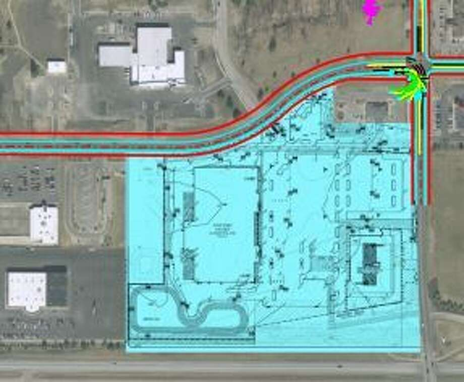 This is the site plan for a new Kroger grocery store and fuel station at the corner of Jefferson Avenue and Joe Mann Boulevard in Midland.