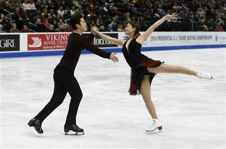 Maia Shibutani and Alex Shibutani perform in the free dance final of the U.S. Figure Skating Championships, Saturday, Jan. 23, 2016, in St. Paul, Minn. They won the gold. (AP Photo/Jim Mone) Photo: Jim Mone