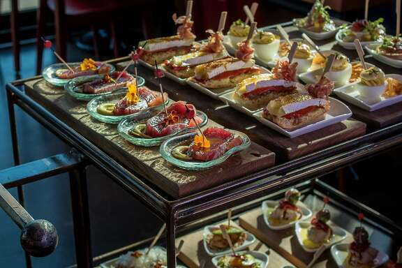 Pintxos on the cart at Teleferic in Walnut Creek, Calif., are seen on March 16th, 2016.