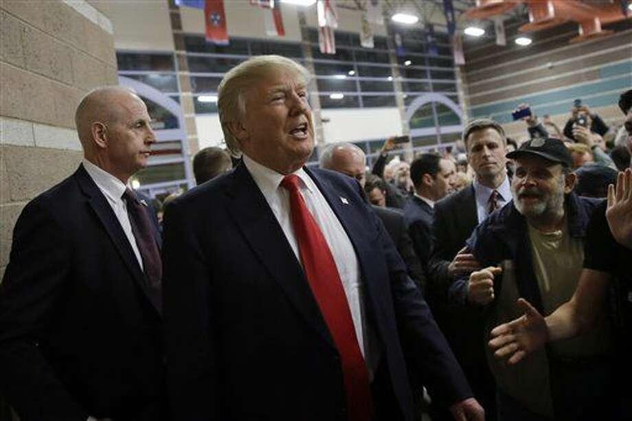 Republican presidential candidate Donald Trump visits a caucus site, Tuesday, Feb. 23, 2016, in Las Vegas. (AP Photo/Jae C. Hong) Photo: Jae C. Hong