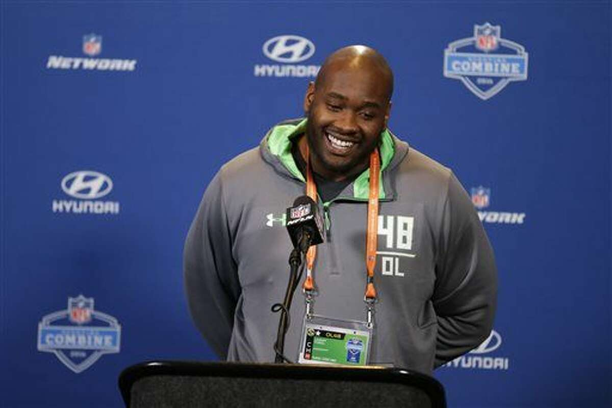 Mississippi offensive lineman Laremy Tunsil speaks during a press conference at the NFL football scouting combine in Indianapolis, Wednesday, Feb. 24, 2016. (AP Photo/Michael Conroy)
