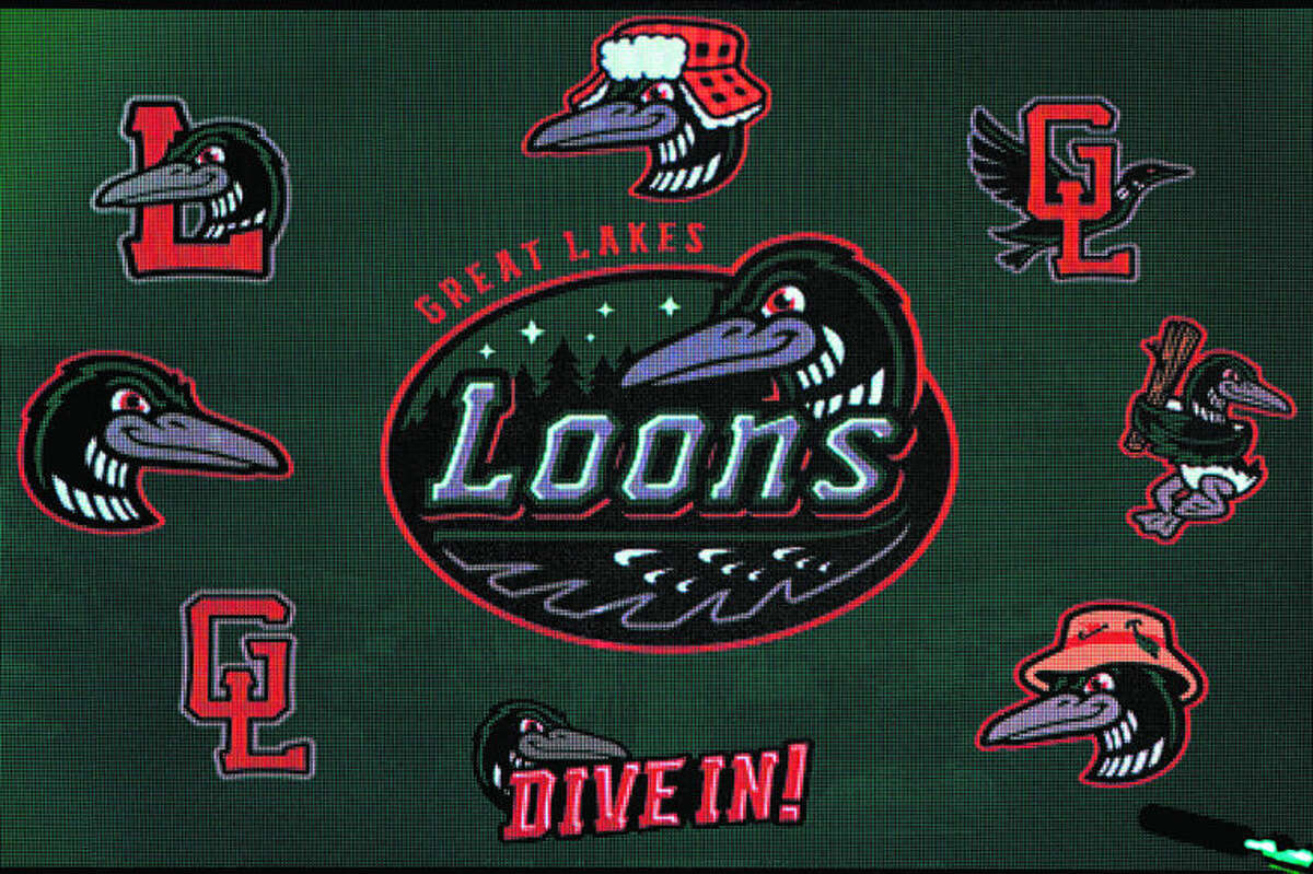 A screen displays the new Loons logos during the Great Lakes Loons' 10th season kickoff event on Saturday at Dow Diamond. Updated logos, uniforms and merchandise for the season were unveiled during the event.