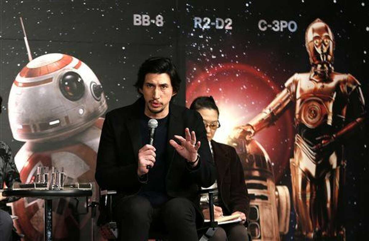 """Actor Adam Driver speaks during a press conference for his latest film """"Star Wars: The Force Awakens"""" at a hotel in Urayasu, near Tokyo Friday."""