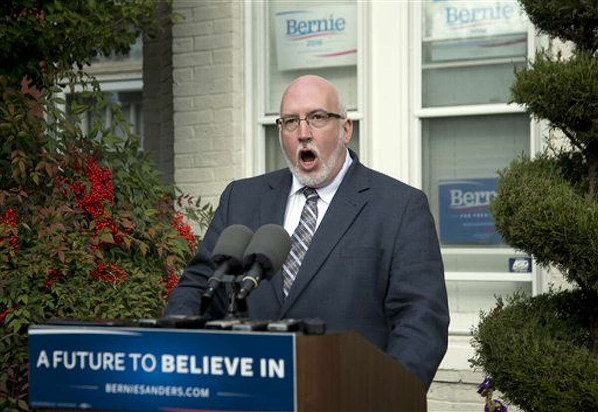 """Sen. Bernie Sanders' campaign manager Jeff Weaver, speaks during a news conference at the Bernie 2016 Campaign Office in Washington, Friday, Dec. 18, 2015. The DNC acted this week after members of Sanders' campaign staff improperly searched and saved information maintained in the database by the campaign of 2016 rival Hillary Clinton. Weaver says the Democratic National Committee is """"actively attempting to undermine"""" Sanders' White House bid. (AP Photo/Manuel Balce Ceneta)"""