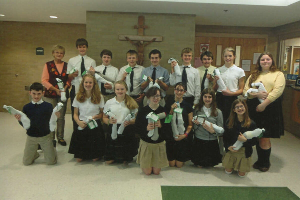The public speaking classes at St. Brigid Catholic School recently created Socks of Love.