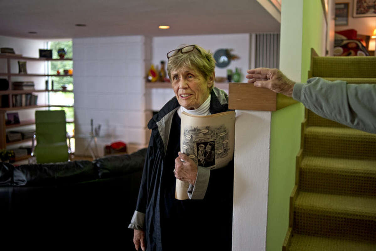 Former resident Sue Ball Asch explores her old home at Alden B. Dow's Howard Ball Home. The home, which was built in 1935. Asch lived there for twenty years, starting when she was two years old.