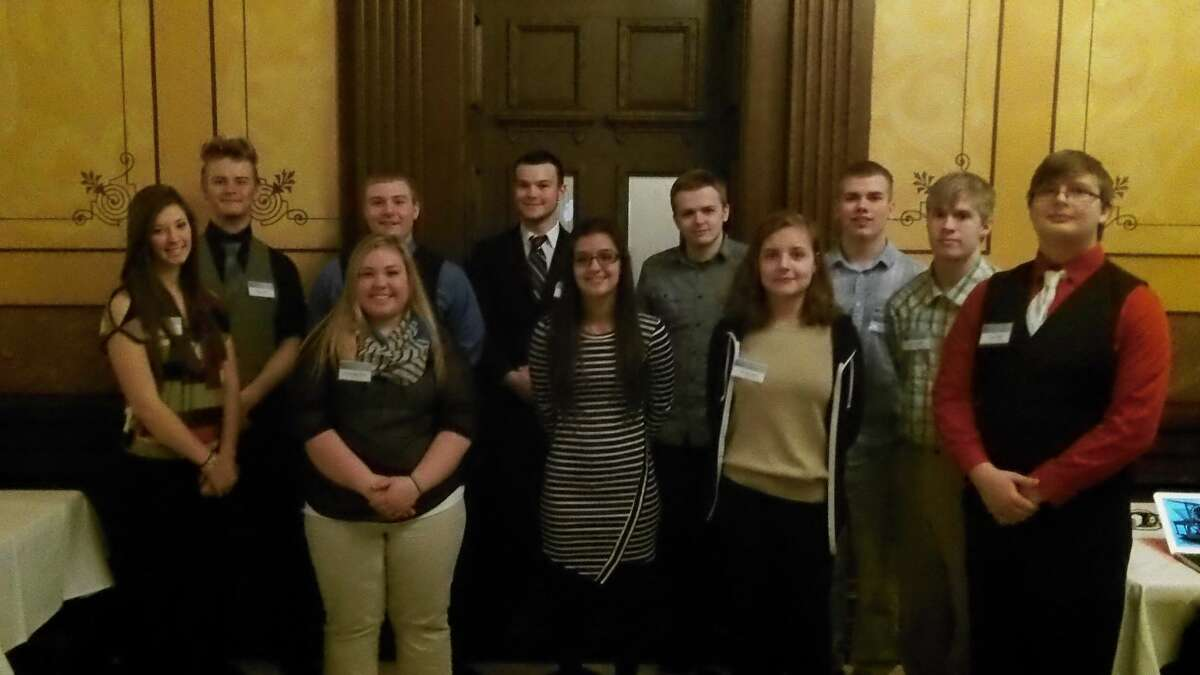 Three groups of Meridian Early College High School studentspresented projects at the AT&T/MACUL/MVU Student Technology Showcase at the state Capitol earlier this month.