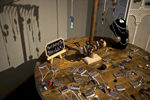 Jewelry for sale is displayed at Gift of Hope Boutique in downtown Midland.