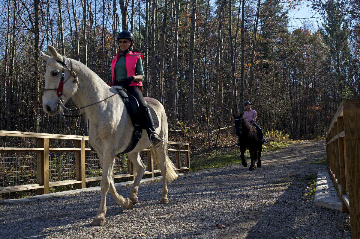 Midland resident Nan Spadacene rides Johnny Walker ahead of Sandy Bonem and her horse Trienke at Midland City Forest on Tuesday. The bridge they crossed was just refinished this summer, making it easier for them to ride.