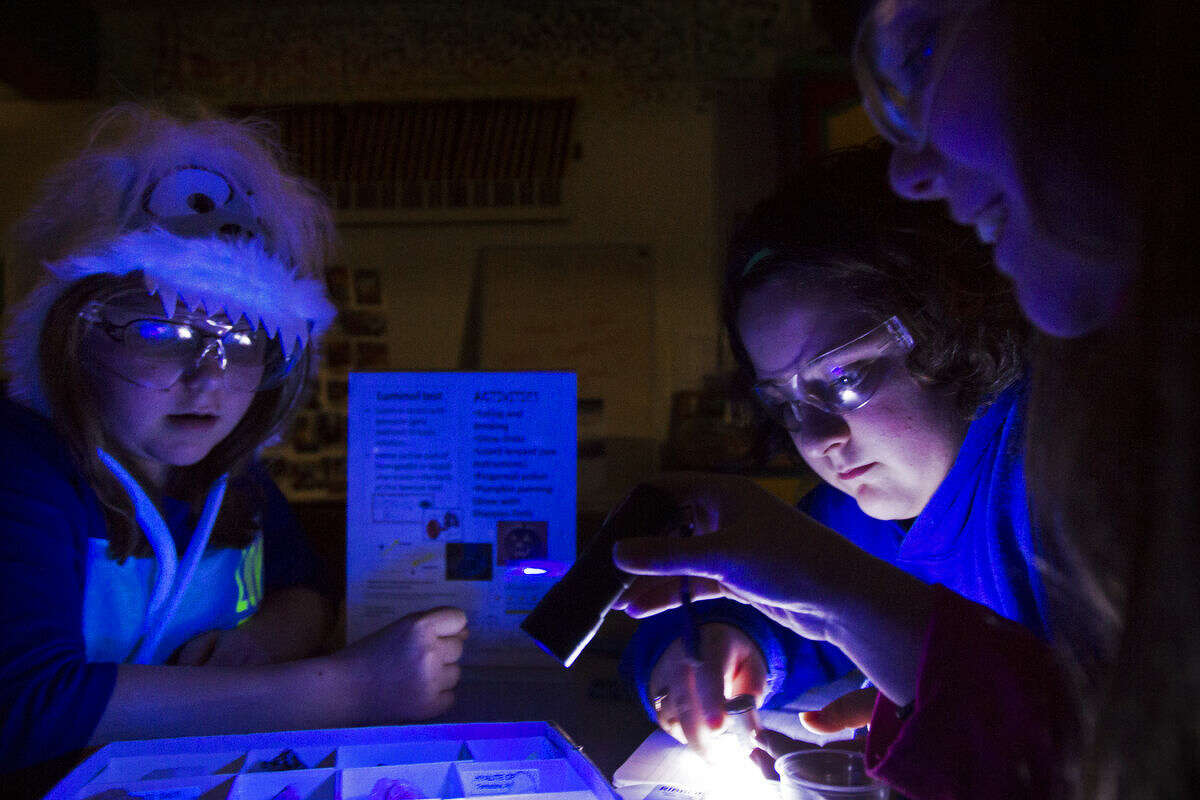 From left, Leah Wheaton, sixth-grader at Coleman Middle School, Alexis Gillespie, sixth-grader at Hemlock Middle School and Mackenzie Chappel, sixth-grader at T.L. Handy Middle School use both a UVA and a UVB light bulb while investigating a variety of rocks to see how the rocks reflect different colors while participating in the Scientific Wonders and Artful Genius (SWAAG) program at Creative 360. The last SWAAG class was Wednesday.