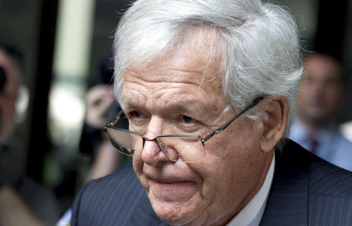FILE - In this June 9, 2015 file photo, former House Speaker Dennis Hastert departs the federal courthouse in Chicago. The lawyer for Dennis Hastert says the former U.S. House Speaker had a stroke during the first week of November and has been hospitalized since then. Attorney Tom Green said in a statement reported by Politico that Hastert had a stroke, has been treated for sepsis and had two back surgeries while in the hospital. The 73-year-old Hastert pleaded guilty Oct. 28 to a felony count of evading bank reporting laws in a hush-money scheme. (AP Photo/Christian K. Lee, File)