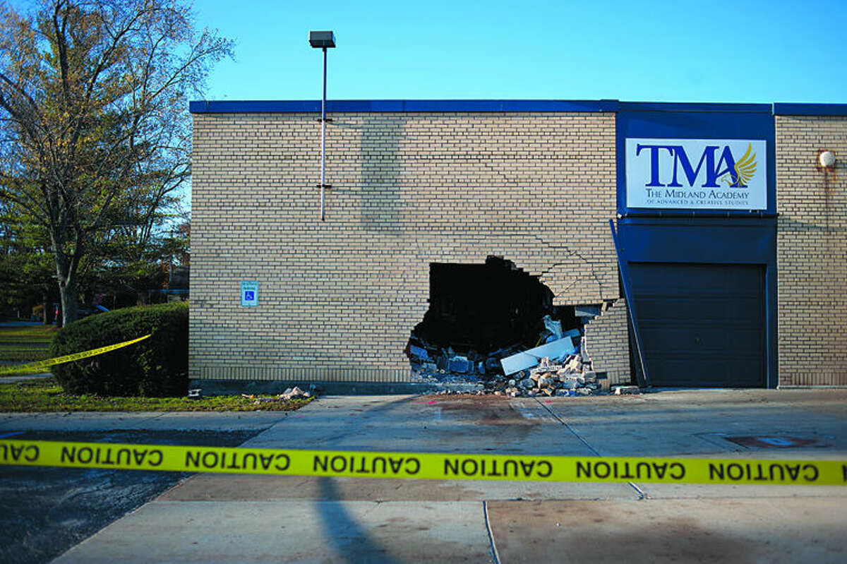Damage left after the crash at the Midland Academy is seen in this Daily News file photo.