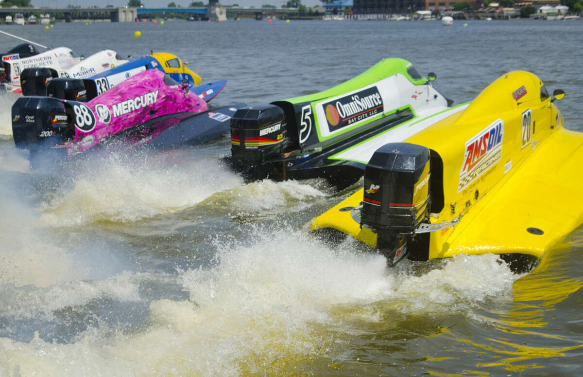 Formula Two powerboats take off to begin the first of three heats during the River Roar in downtown Bay City in this file photo. The Bay City River Roar could be canceled in 2016 if a sponsor doesn't step up by Jan. 15.