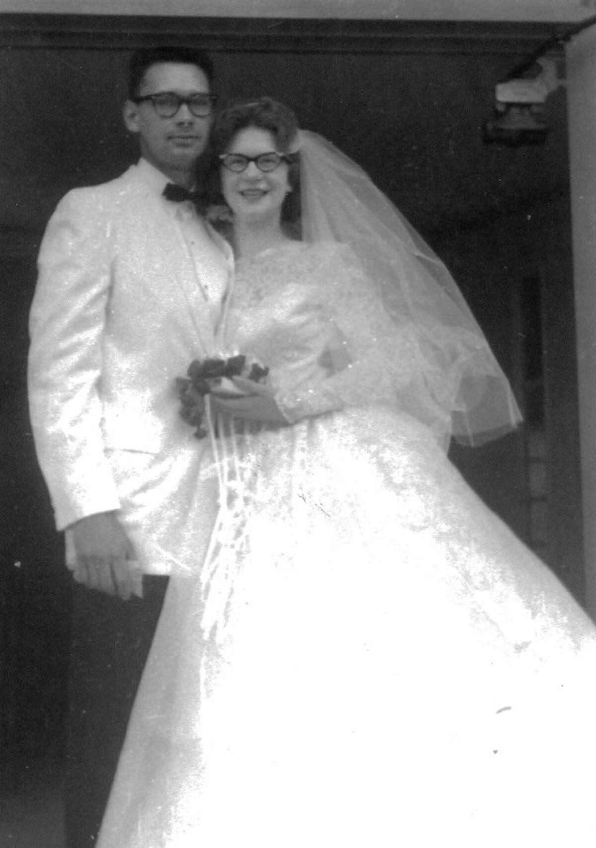 Don Boxey and Sharon Neiner were the first couple to be married in the new St. Agnes Catholic Church in Sanford. Father Robert Shine officiated at their wedding on June 18, 1960.