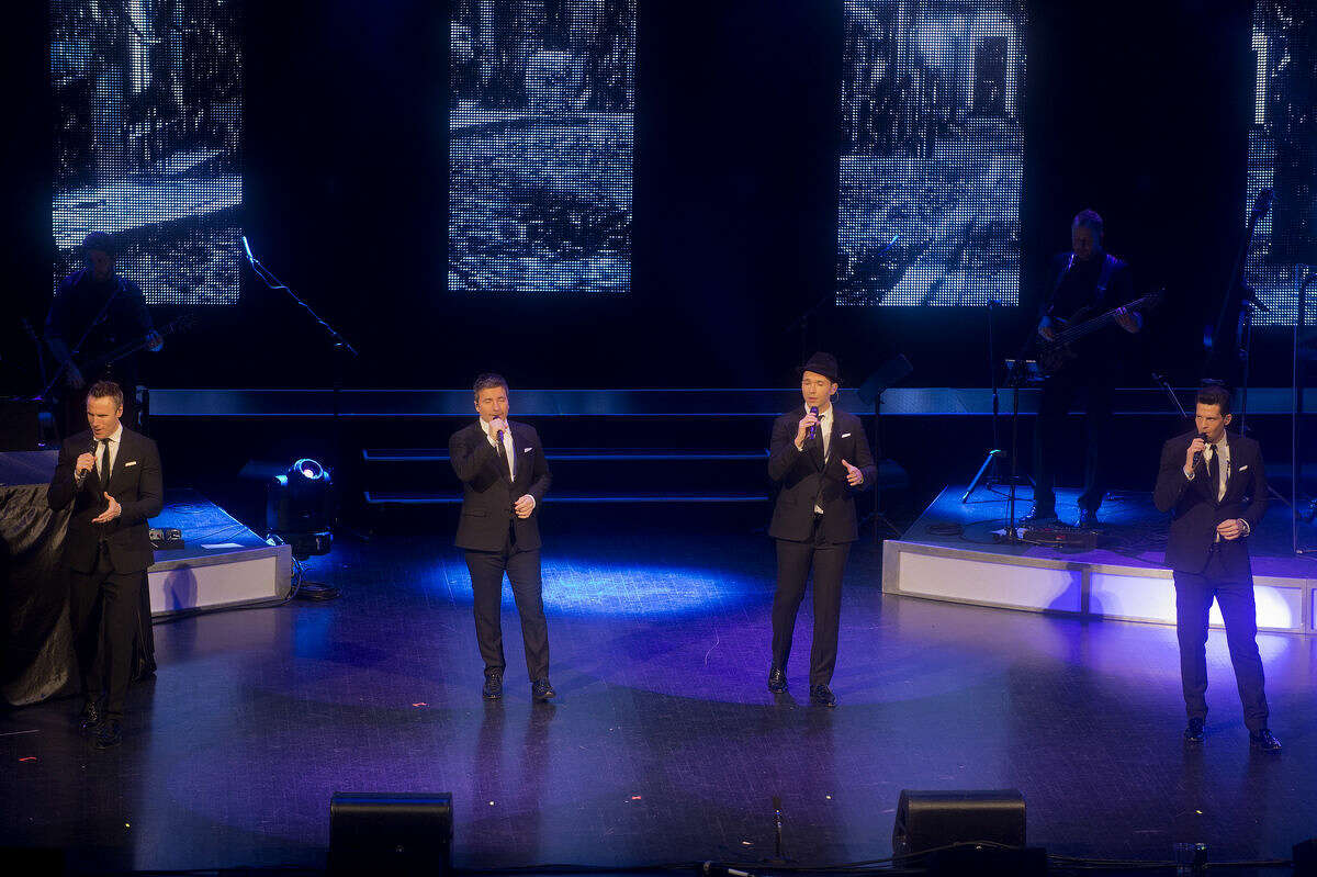 The Tenors, from left, are Fraser Walters, Victor Micallef, Remigio Pereira and Clifton Murray. The group performed at the Midland Center for the Arts Thursday evening.