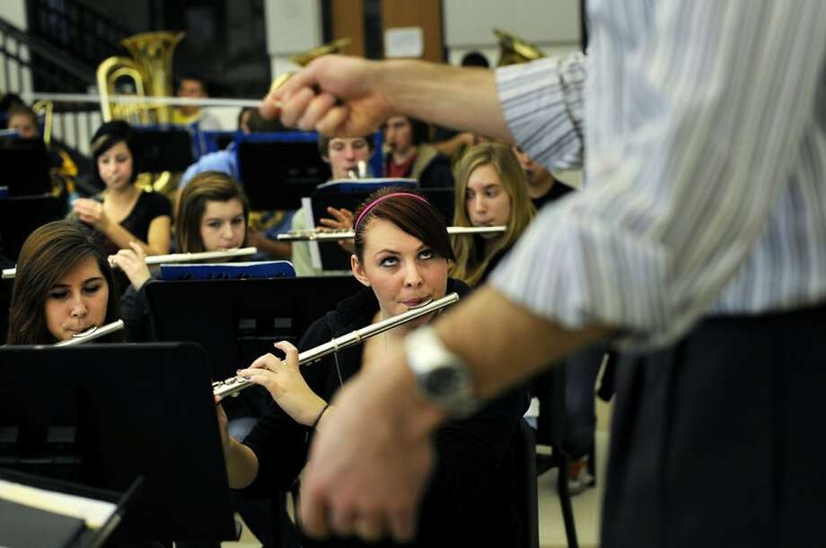 Meridian High School band members practice in this Daily News file photo. Band Director Matthew Shephard has been named the Michigan School Band and Orchestra Association Region 5 Teacher of the Year. Photo: NICK KING | Daily News File Photo