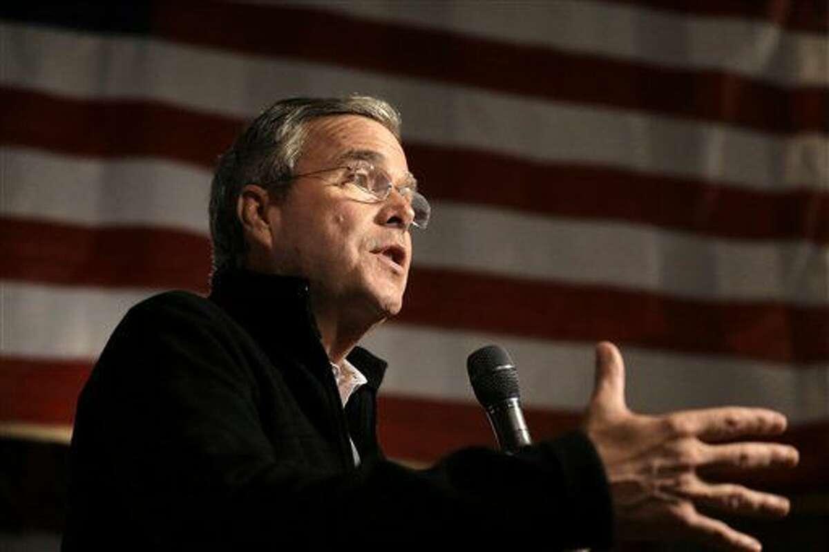 FILE - In this Nov. 3, 2015 file photo, Republican presidential candidate, former Florida Gov. Jeb Bush speaks in Rye, N.H. (AP Photo/Steven Senne, File)