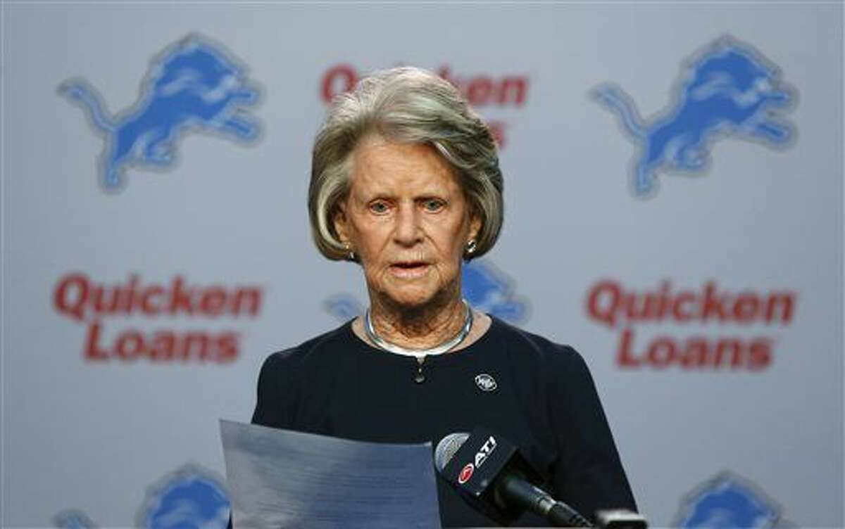 Detroit Lions NFL football team owner Martha Firestone Ford reads a prepared statement Thursday, Nov. 5, 2015, in Allen Park, Mich. The struggling Detroit Lions have shaken up their front office. Lions president Tom Lewand and general manager Martin Mayhew were fired on Thursday. (AP Photo/Paul Sancya)