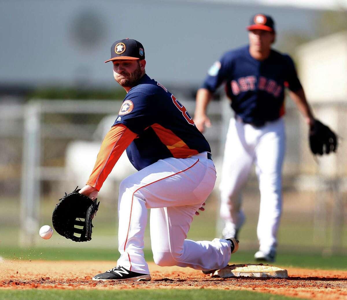 Houston Astros infielder Tyler White at the Astros spring training in Kissimmee, Florida, Thursday, Feb. 25, 2016.( Karen Warren / Houston Chronicle )