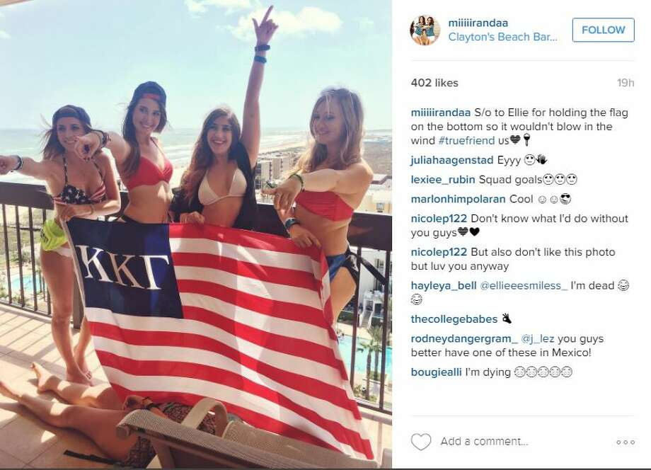 "South Padre Island""S/o to Ellie for holding the flag on the bottom so it wouldn't blow in the wind #truefriend,"" @miiiiirandaa Photo: Instagram Screenshot"