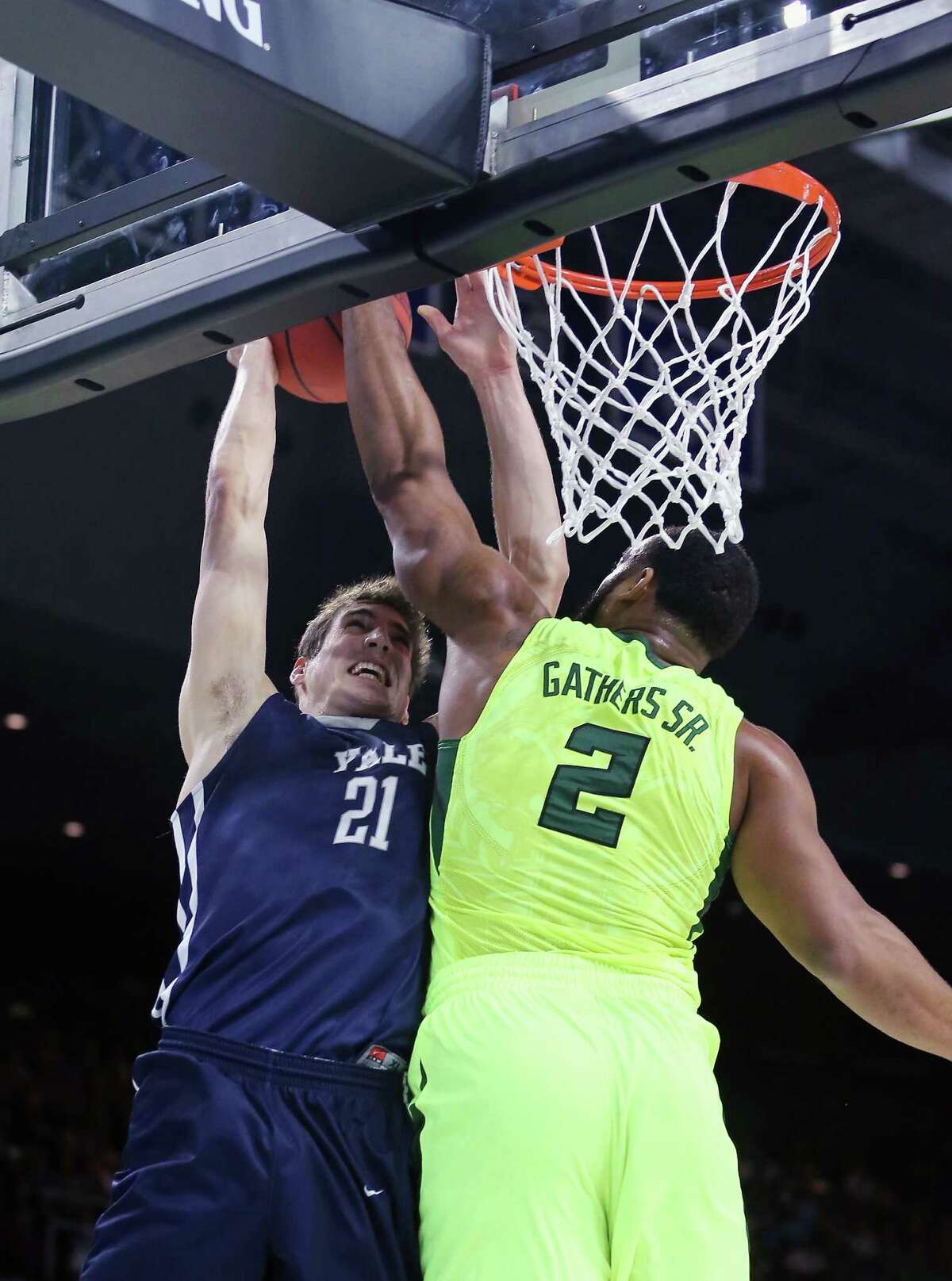 PROVIDENCE, RI - MARCH 17: Rico Gathers #2 of the Baylor Bears blocks a shot by Nick Victor #21 of the Yale Bulldogs in the first half of their game during the first round of the 2016 NCAA Men's Basketball Tournament at Dunkin' Donuts Center on March 17, 2016 in Providence, Rhode Island.