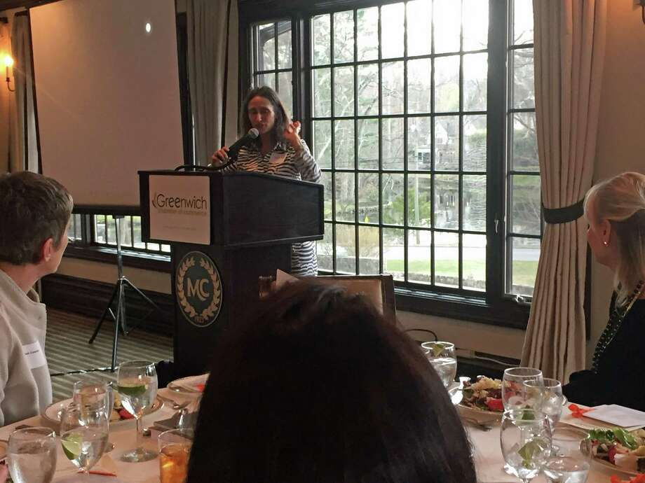 Karen Newman speaks at the Greenwich Chamber of Commerce Women Who Matter luncheon March 17, 2016 at the Milbrook Club in Greenwich. Photo: Contributed / Contributed Photo / Greenwich Time Contributed