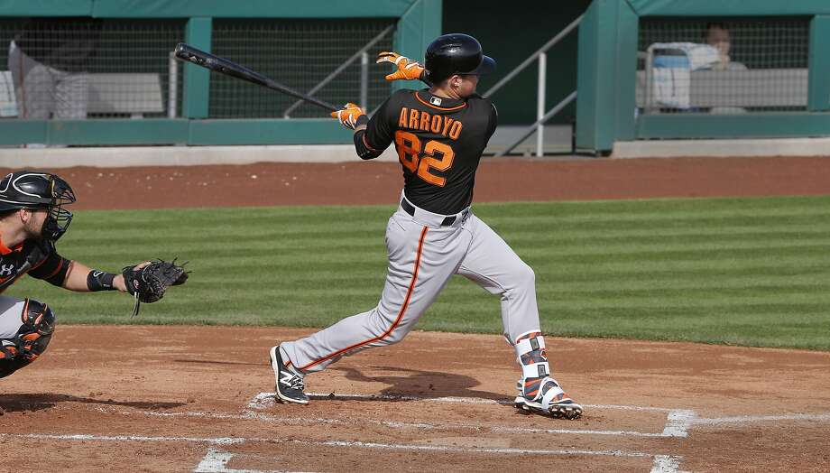 Christian Arroyo, 82 connects for a double at his first at bat as the San Francisco Giants play an intrasquad game during spring training at Scottsdale Stadium on Tues. March 1,  2016, in Scottsdale, Arizona. Photo: Michael Macor, The Chronicle