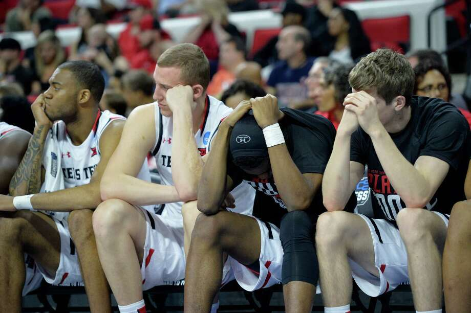 RALEIGH, NORTH CAROLINA - MARCH 17:  The Texas Tech Red Raiders bench reacts late in the second half while taking on the Butler Bulldogs in the first round of the 2016 NCAA Men's Basketball Tournament at PNC Arena on March 17, 2016 in Raleigh, North Carolina. Photo: Grant Halverson, Getty Images / 2016 Getty Images