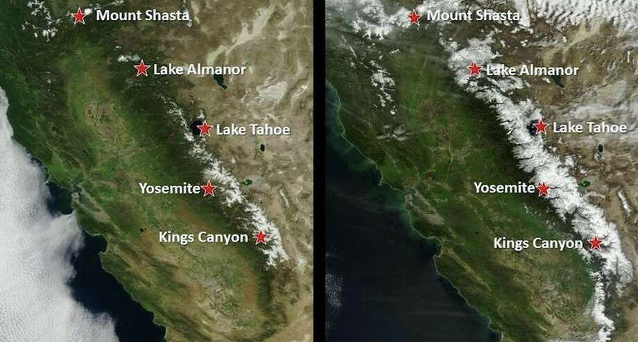 NASA satellite imagery shows the difference in California's snow levels between March 2015 and March 2016. Photo: Credit: National Weather Service