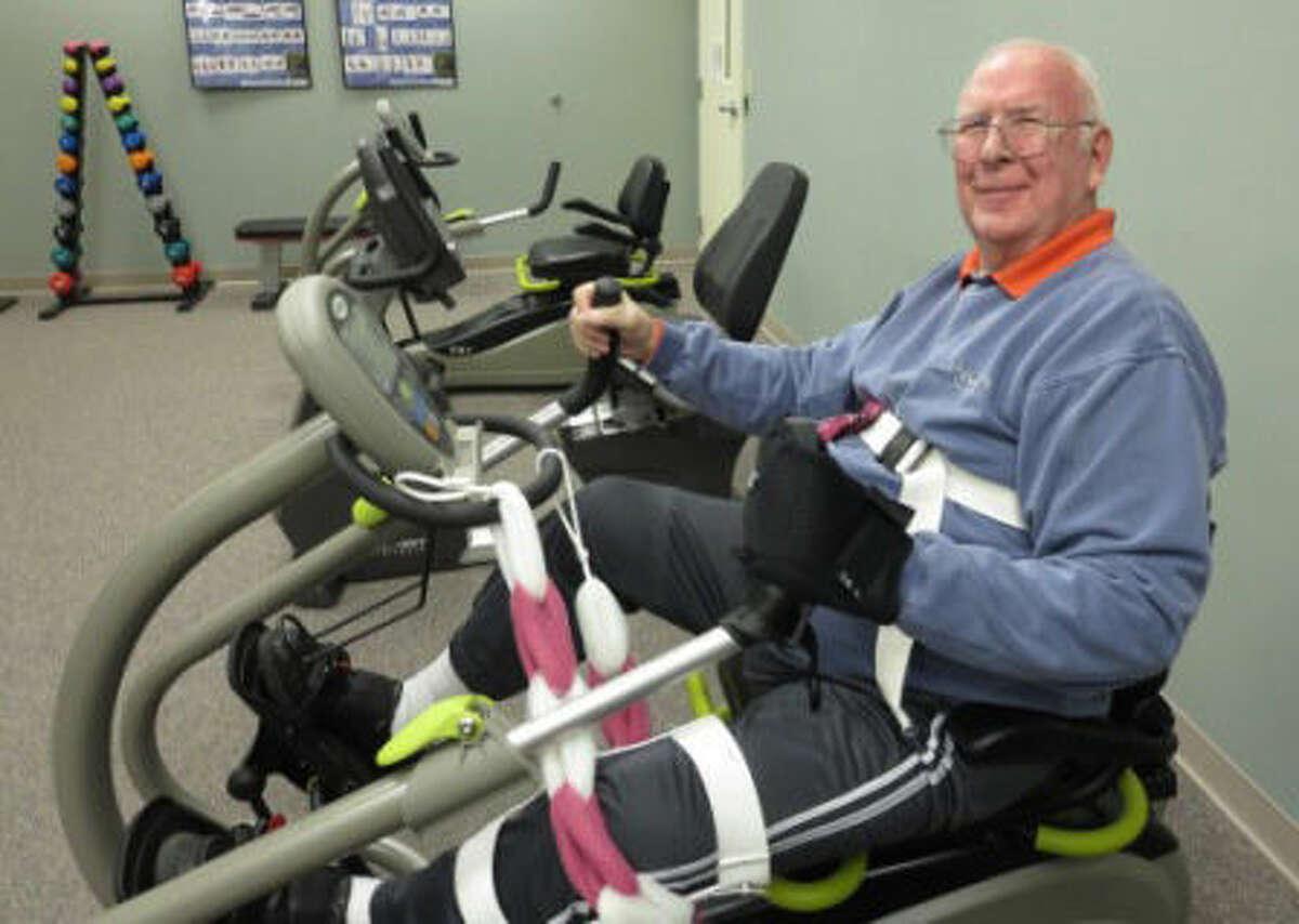 Birchwood member John exercises on the NuStep machine at Senior Services.
