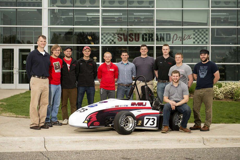 Saginaw Valley State University's Cardinal Formula Racing team and its car are competing this week at Michigan International Speedway. Photo: Photo Provided