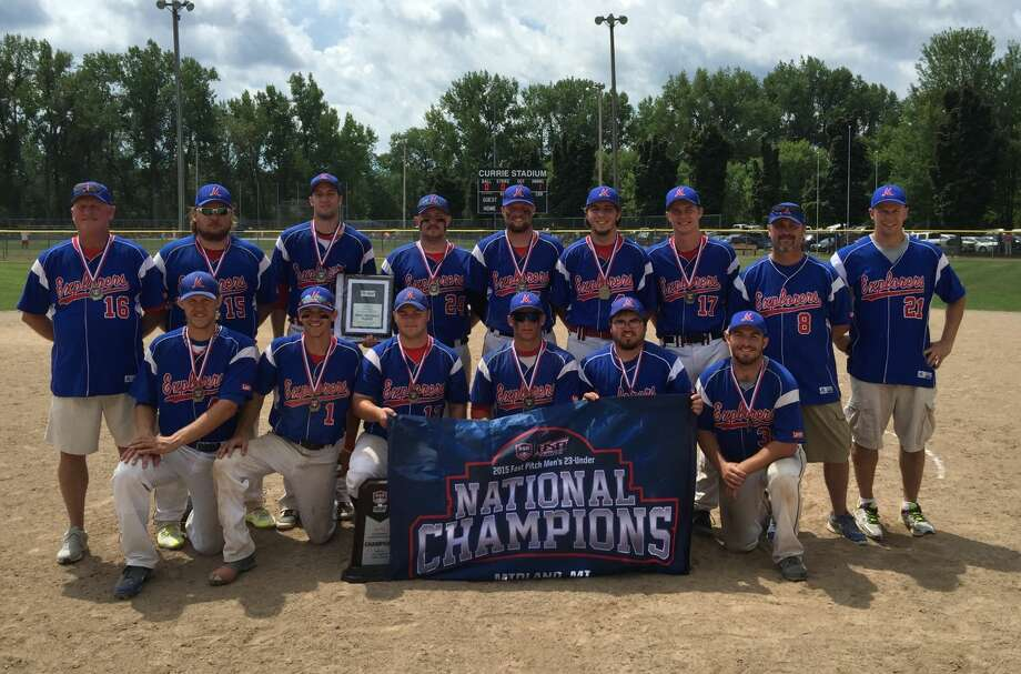 Pictured above is the Midland Explorers Blue team that won the 23U ASA national championship on Sunday:(Front row, from left) Justin Krenzke, Caleb Roberts, Drew Thurston, Kolbi Shumaker, Trevor Hoon, Zack Lach; (back row, from left) Dave Ganton, Gunnar Bouvy, Jon Gwizdala, Cody Skelton, TJ Radosa, Drew Thompson, Jared Bender, manager Kyle Beane, coach David Lach. Photo: Photo Provided