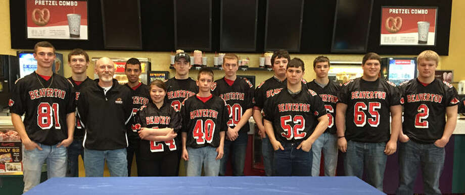 Players from the Beaverton High School varsity football team volunteered at the Sensory Friendly Family Movie Day at Celebration Cinema in Mount Pleasant. Photo: Photo Provided