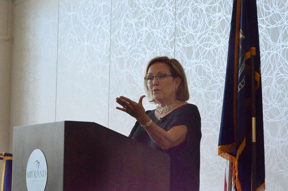 Cynthia Schuette speaks to the Midland Noon Rotary Club. Photo: Photo Provided