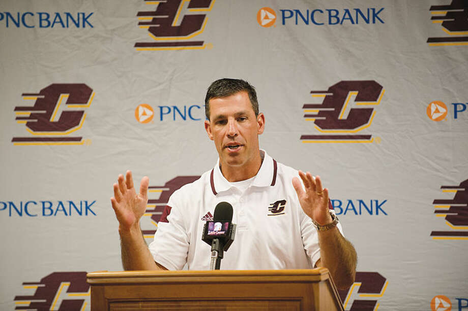 Central Michigan University's head football coach Dan Enos talks to the media last August before the start of the 2014 season. Photo: NEIL BLAKE | Nblake@mdn.net