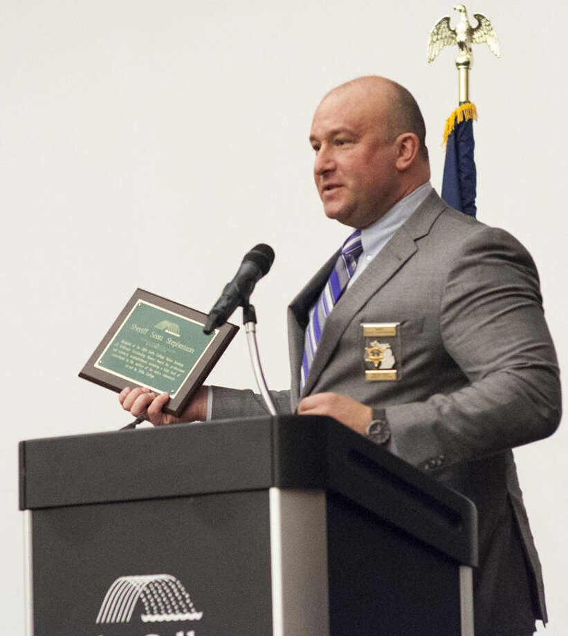 Midland County Sheriff Scott Stephenson recently received the Jill Gallihugh Outstanding Alumni Award from the Delta College Police Academy. Photo: Photo Provided