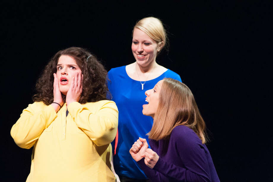 """Eleni Tsiros (Yellow Mommy), Natalie Slawnyk (Blue Mommy) and Rachel Jingles (Purple Mommy) in the Midland Center for the Arts Center Stage production """"The MOMologues."""" Photo: Steven Simpkins/Midland Daily Ne"""
