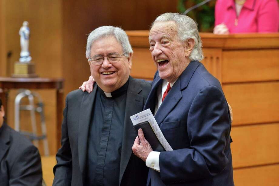 Fr. Virgil Elizondo (left) and Rev. Buckner Fanning chat following the Catholic Television of San Antonio Leadership Luncheon. Fanning received the Leadership in Media Award and Elizondo won the St. John Vianney Award for his 50 years as a priest. Photo: Robin Jerstad, Freelancer / For The Express-News / San Antonio Express-News
