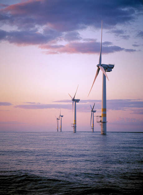 Commercial-scale offshore wind projects in Europe and Asia have largely relied on heavy government subsidy, something the U.S. government has so far avoided. Shown are General Electric wind turbines in the Irish Sea near Arklow, Ireland. Photo: General Electric / General Electric