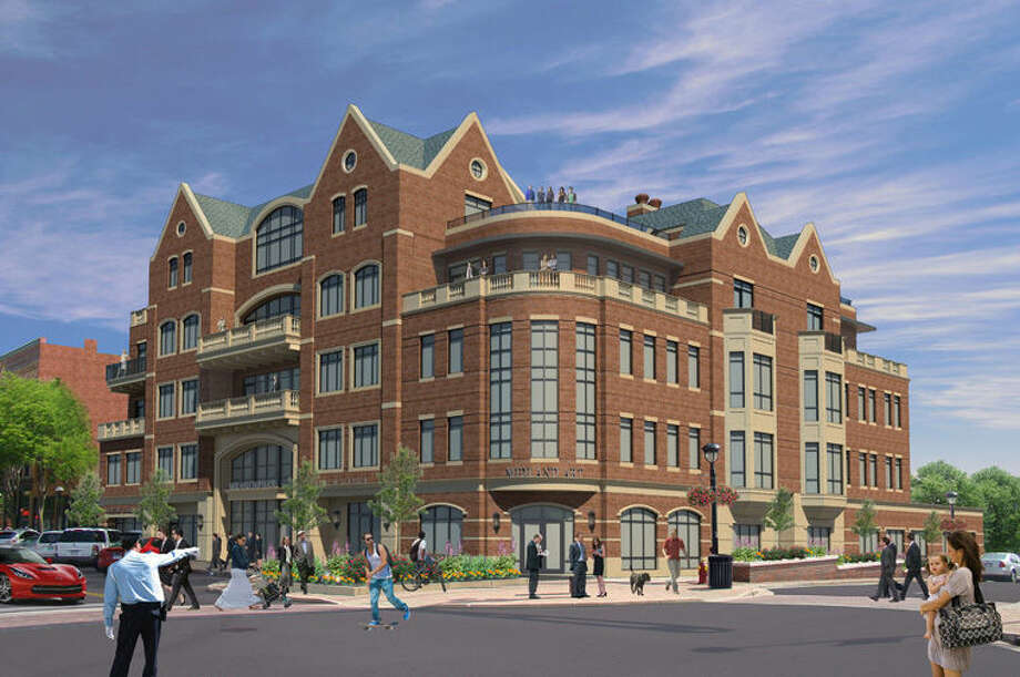 The five-story H Residence in downtown Midland is expected to feature restaurant space on the ground floor in addition to hosting the new home of the Midland Convention and Visitors Bureau and a retail location for Northwood Gallery. The property will also feature nine luxury condominiums ranging in space from 1,800 to 3,500 square feet. The rooftop will feature a garden terrace for exclusive use by residents and private parties. The condominiums also come with heated underground parking. Photo: Illustration Provided