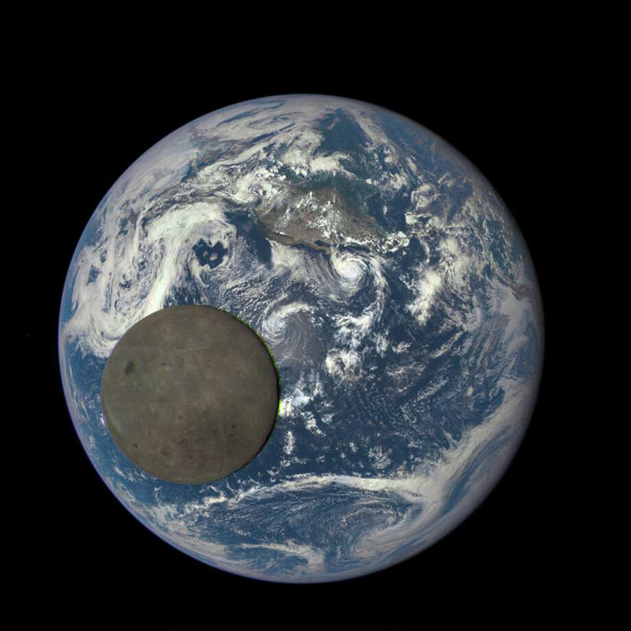 This image shows the far side of the moon, illuminated by the sun, as it crosses between the DSCOVR spacecraft's Earth Polychromatic Imaging Camera (EPIC) camera and telescope, and the Earth — one million miles away.