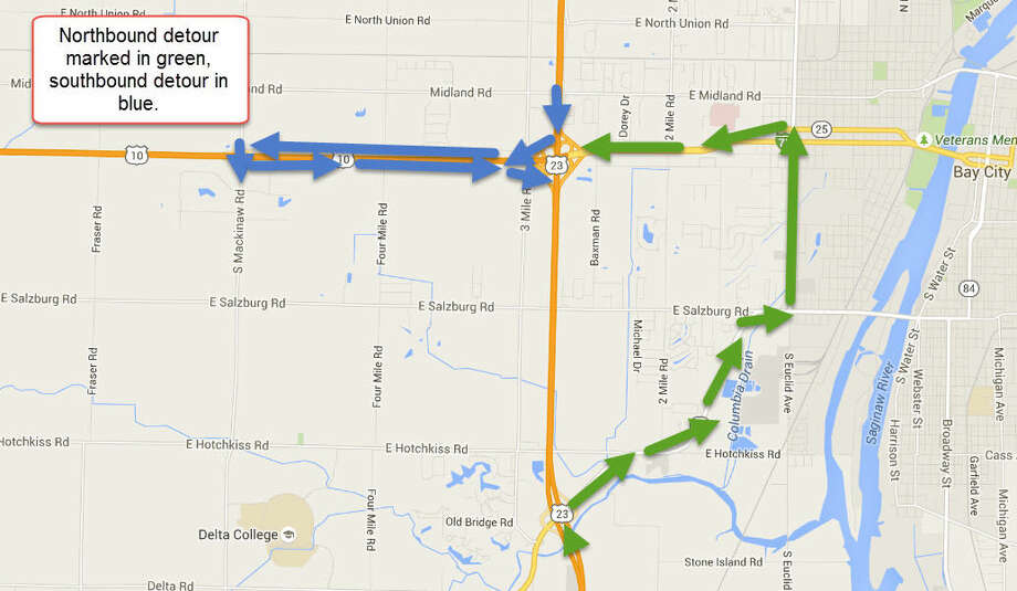 A map of the detour, provided by the Michigan Department of Transportation.