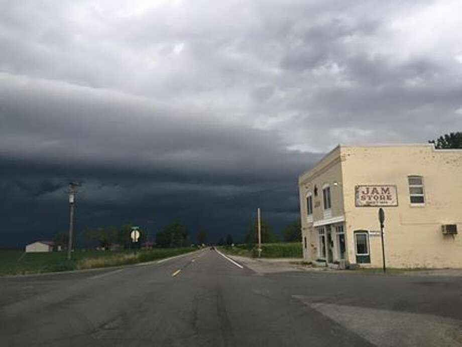 This was taken Sunday evening by a passenger in a car heading north on Homer Road at LaPorte Road as the storm approached Midland. Photo: Tony Lascari | Tlascari@mdn.net